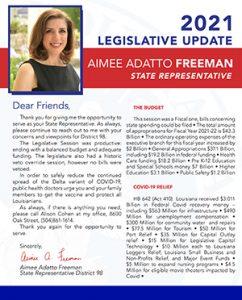 State Rep Freeman Newsletter 2021